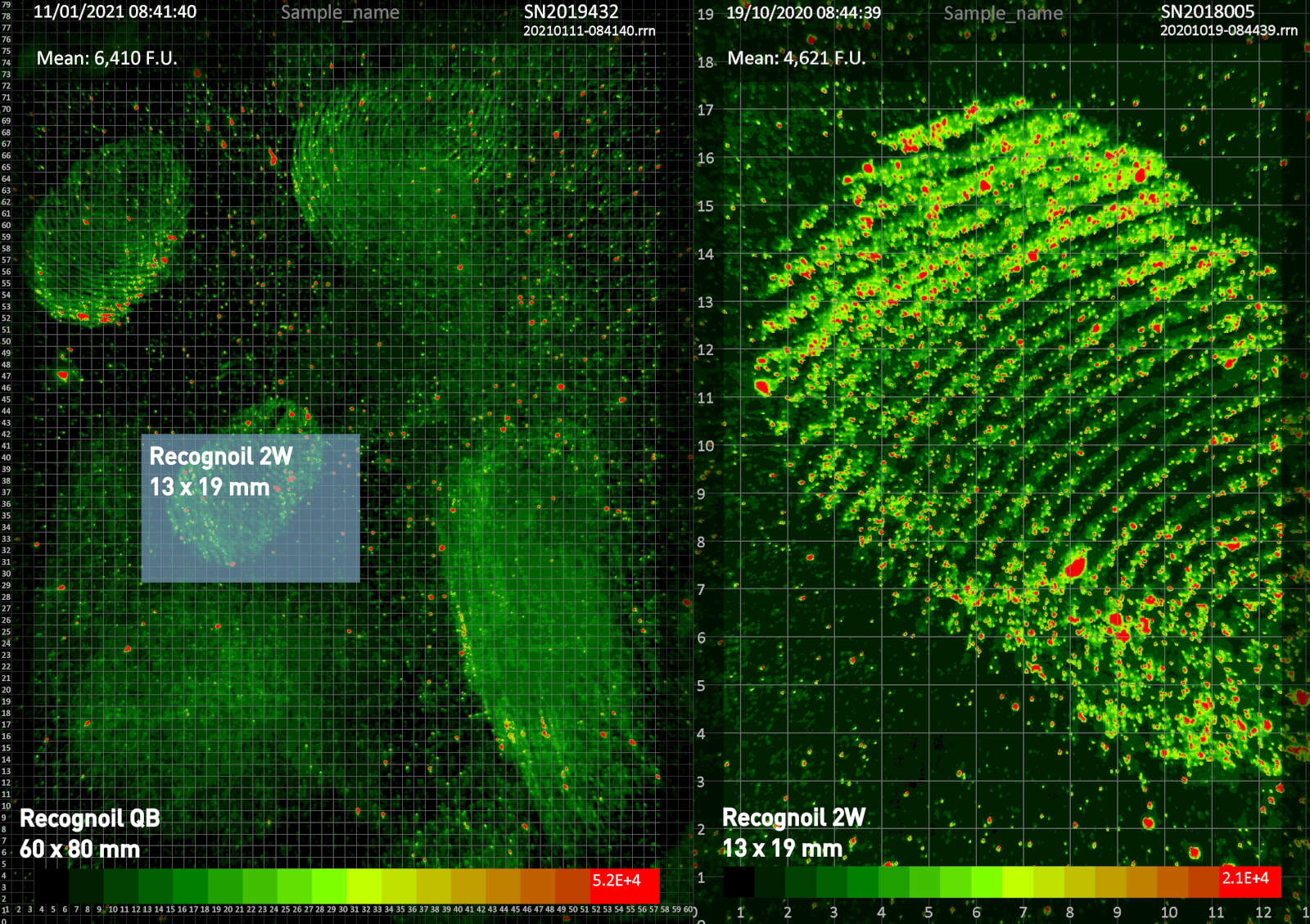 Main image output from Recognoil QB device - fluorescence map of the distribution of oil and grease contamination on the surface of the part